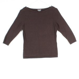 Ann Taylor Women's Crew Neck Top With 3/4 Sleeves